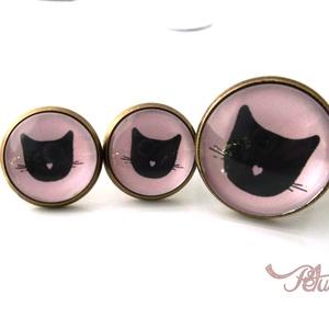 Macskás fülbevaló gyűrű szett cicás, Ékszer, Ékszerszett, Ékszerkészítés, Meska