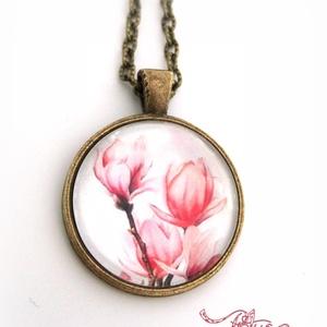 Magnólia Liliomfa nyaklánc gyűrű  tulipános üveglencsés rózsaszín (Petusa) - Meska.hu