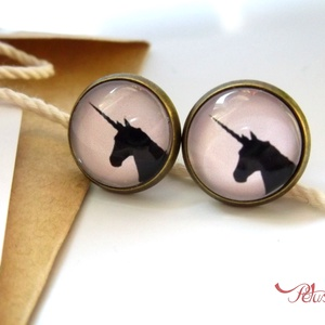 Unikornis lovas ló fülbevaló egyszarvú üveglencsés , Ékszer, Pötty fülbevaló, Fülbevaló,  Unikornis fülbevaló  Halvány rózsaszín alapon egy unikornis - egyszarvú - vágtázik, szerintem ugyan..., Meska