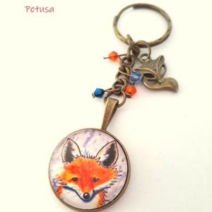 Róka Rókás kulcstartó Tavaszi, Táska & Tok, Kulcstartó & Táskadísz, Kulcstartó, Egy cuki róka figyel az üvegen keresztül, szerinted mire kíváncsi?  Rókás kulcstartót készítettünk, ..., Meska