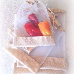 Tüll bevásárló zsák ÖKO zacskó 6 db bézs fehér pöttyös, NoWaste, Bevásárló zsákok, zacskók , Varrás, Öko tüll zsákok bevásárláshoz, tároláshoz\n\nMŰANYAG HELYETT!\n\n6 db-os bevásárló zsákocskát készítette..., Meska