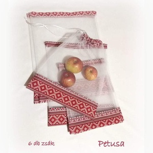 Tüll bevásárló zsák ÖKO zacskó 6 db piros skandináv norvég mintás, NoWaste, Bevásárló zsákok, zacskók , Varrás, Öko tüll zsákok bevásárláshoz, tároláshoz  MŰANYAG ZACSKÓK HELYETT!  6 db-os bevásárló zsákocskát k..., Meska