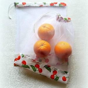 Tavaszi tüll bevásárló zsák ÖKO zacskó 2 db cseresznyés, Táska & Tok, Bevásárlás & Shopper táska, Öko tüll zsákok bevásárláshoz, tároláshoz  MŰANYAG ZACSKÓK HELYETT!   2 db-os bevásárló zsákocskát k..., Meska