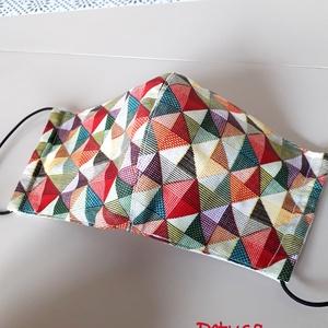 3 rétegű maszk, arcmaszk, szájmaszk szűrőtartóval  geometria mintás  (Petusa) - Meska.hu