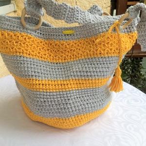 Szürke -sárga pakolható táska , Táska & Tok, Válltáska, Kézitáska & válltáska, Horgolás, Meska