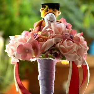 Ballagási csokor, Csokor & Virágdísz, Dekoráció, Otthon & Lakás, Virágkötés, Habrózsából készűlt ballagási csokor. Szöveggel és nélküle is kérhető. Fiús,lányos színvilágban más ..., Meska