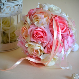 Elegancia szalagos csokor, Esküvő, Esküvői csokor, Pazar mégis finom eleganciát sugárzó fehér-puderrózsaszín-babarózsaszín gömb esküvői csokor, dobó cs..., Meska