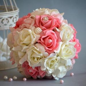 PAZAR VARÁZSLAT, Esküvő, Esküvői csokor, Nászajándék, Menyasszonyi ruha, Virágkötés,  Ez a pazar mégis finom eleganciát sugárzó csodás habrózsa, ekrü-babarózsaszín-málnarózsaszín gömb c..., Meska