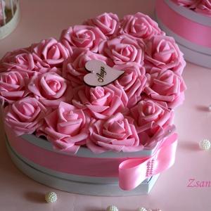 Nagy Örök virágbox Szív alakú , Esküvő, Anyák napja, Ünnepi dekoráció, Dekoráció, Otthon & lakás, Lakberendezés, Meghívó, ültetőkártya, köszönőajándék, Virágkötés, Nagy Szív alakú virág box, asztaldísznek, lakásdekorációnak, esküvői asztaldísznek,szülőköszöntőnek,..., Meska
