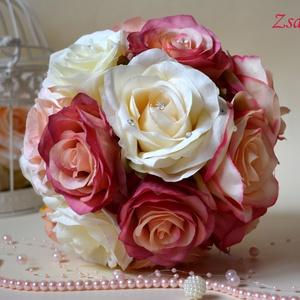 Provanszi Vintage csodás csokor , Dekoráció, Otthon & lakás, Ünnepi dekoráció, Ballagás, Esküvő, Esküvői csokor, Esküvői ékszer, Virágkötés, Vintage romantikus selyemvirág fejekből kötöttem a pazar mégis finom elegáns sugárzó tartós örök cso..., Meska