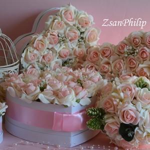 Vintage esküvői garnitúra dekoráció, Esküvői szett, Esküvő, Virágkötés, Csodás vintage hangulatos esküvői garnitúra. A virágboxok asztaldísznek vagy szülő köszöntő virágbox..., Meska