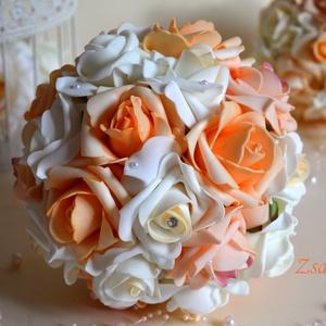Elegáns királynő csokor, Menyasszonyi- és dobócsokor, Esküvő, Virágkötés, Ekrü,barack, és színátmenetes pasztell narancs habrózsából készítettem a csodás menyasszonyi csokrot..., Meska