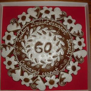 Mandala nagy- Virágos, szives, Édesség, Élelmiszer, Mézeskalácssütés, Mézeskalácsból készült egyedi tervezésű dísztárgy. Kiváló ajándék minden alkalomra, a méz édességéve..., Meska