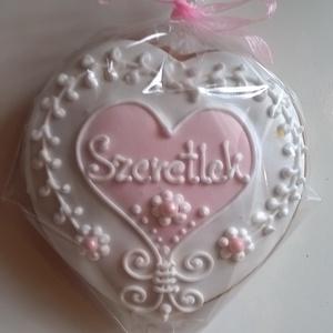 Rózsaszín szív, Édesség, Élelmiszer, Mézeskalácssütés, Mézeskalácsból készült alternatív formájú szív. Rózsaszín-fehér illetve fehér-natúr változatban kész..., Meska