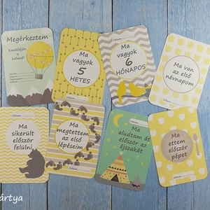 Baba fotó kártya - sárga-szürke csomag (32 db) - babaváró ajándék, Játék & Gyerek, Babalátogató ajándékcsomag, Fotó, grafika, rajz, illusztráció, Baba fotó kártya - sárga-szürke csomag (32 db) - babaváró ajándék\n\nSaját szerkesztésű fotó kártyák (..., Meska