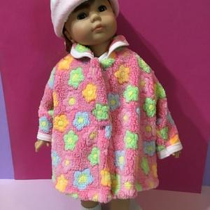 AKCIÓ!!! Játékbaba ruha, kabát + kalap ( virág mintás ) AKCIÓS!, Gyerek & játék, Játék, Baba játék, Varrás, Játékbaba ruha, kabát + kalap ( virág mintás ): \nJátékbaba ruha, kabát + kalap összeállítás. Puha we..., Meska