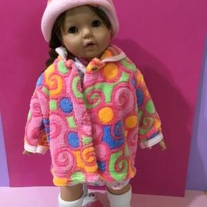 AKCIÓ!!! Játékbaba ruha, kabát + kalap ( csiga mintás ), Gyerek & játék, Játék, Baba játék, Varrás, Játékbaba ruha, kabát + kalap ( csiga mintás ): \nJátékbaba ruha, kabát + kalap összeállítás. Puha we..., Meska