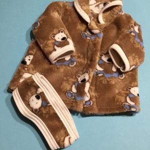 AKCIÓ!!! Játékbaba ruha, kabát + fejpánt ( maci mintás ), Gyerek & játék, Játék, Baba játék, Varrás, Játékbaba ruha, kabát + fejpánt ( maci mintás ): \nJátékbaba ruha, kabát + fejpánt összeállítás. Puha..., Meska