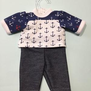30-33 cm-es játékbaba ruha, kétrészes ( tengerészes ), Gyerek & játék, Gyerekszoba, Játék, Baba játék, Varrás, Játékbaba ruha kétrészes ( tengerészes, kék ): pamut anyagból készült 33 cm-es babára. Hátul tépőzár..., Meska