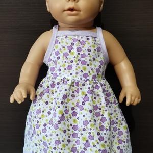 40-46 cm-es játékbaba ruha ( ujjatlan, virágos ), Babaruha, babakellék, Baba & babaház, Játék & Gyerek, Varrás, Játékbaba ruha ( ujjatlan, virágos ): anyaga pamutvászon, 40-46 cm-es szűkebb derekú játékbabára meg..., Meska