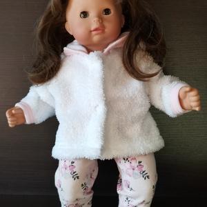40-45 cm-es játékbaba ruha ( kabát + nadrág ) rózsaszín virágos , Babaruha, babakellék, Baba & babaház, Játék & Gyerek, Varrás, 40-45 cm játékbaba ruha, kabát + nadrág. A kabát patenttal záródik, anyaga wellsoft, a nadrágé pamut..., Meska