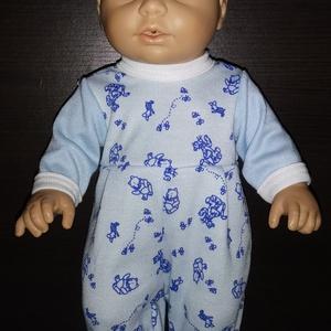 30-33 cm-es játékbaba ruha, rugdalózó ( kék micimackós ), Játék & Gyerek, Baba & babaház, Babaruha, babakellék, Varrás, Játékbaba ruha ( kék micimackós) : 30-33 cm-es játékbaba rugdalózó, hátul tépőzárral záródik, anyag..., Meska