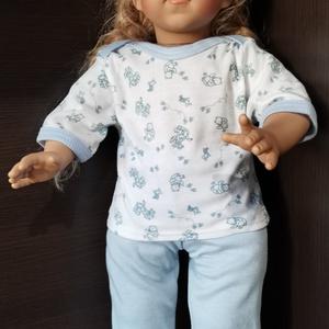 50-55 cm-es játékbaba pizsama ( kék macis ), Játék & Gyerek, Baba & babaház, Babaruha, babakellék, Varrás, Játékbaba pizsama ( kék macis ) 50-55 cm-es játékbabához. Pamut anyagból készült., Meska