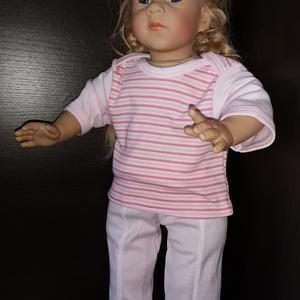 50-55 cm-es játékbaba pizsama ( rózsaszín csíkos ), Játék & Gyerek, Baba & babaház, Babaruha, babakellék, Varrás, Játékbaba pizsama ( rózsaszín csíkos ) 50-55 cm-es játékbabához. Pamut anyagból készült., Meska