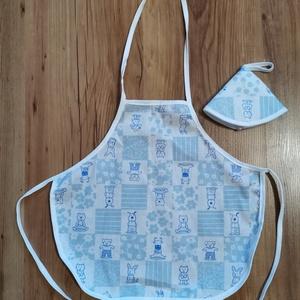 Gyerek kötény 2 részes ( kék macis ), Játék & Gyerek, Szerepjáték, Varrás, 2 részes kis kötény 3-6 éves gyerekeknek. Anyaga: pamutvászon. 40 fokon mosógépben mosható, vasalhat..., Meska