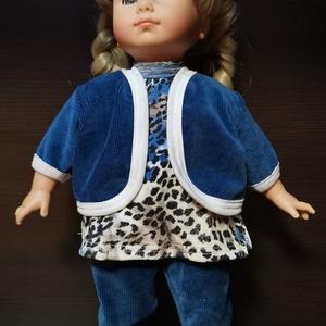 40-45 cm-es játékbaba ruha, 3 részes ( kabát + póló + nadrág ), kék, Játék & Gyerek, Baba & babaház, Babaruha, babakellék, Varrás, Játékbaba ruha (háromrészes): 40-45 cm-es és 43-46 cm babára. A kabát és a nadrág anyaga bordás plüs..., Meska