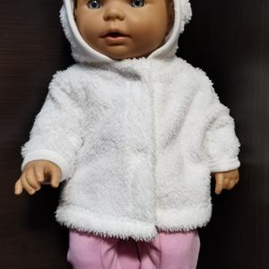 30-33 cm-es játékbaba ruha ( kabát és nadrág ) fehér, rózsaszín, Játék & Gyerek, Baba & babaház, Babaruha, babakellék, Varrás, 30-33 cm játékbaba ruha, kabát + nadrág. A kabát patenttal záródik, anyaga wellsoft, a nadrágé pamut..., Meska