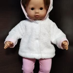 40-45 cm-es játékbaba ruha ( kabát és nadrág ) fehér, rózsaszín, Játék & Gyerek, Baba & babaház, Babaruha, babakellék, Varrás, 40-45 cm-es játékbaba ruha, kabát + nadrág. A kabát patenttal záródik, anyaga wellsoft, a nadrágé pa..., Meska