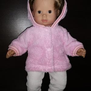 40-45 cm-es játékbaba ruha ( kabát és nadrág ) rózsaszín, fehér, Játék & Gyerek, Baba & babaház, Babaruha, babakellék, Varrás, 40-45 cm-es játékbaba ruha, kabát + nadrág. A kabát patenttal záródik, anyaga wellsoft, a nadrágé ru..., Meska