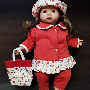 40-45 cm-es játékbaba ruha, 4 részes ( kabát + nadrág + kalap + táska ) piros, Játék & Gyerek, Baba & babaház, Babaruha, babakellék, Varrás, Játékbaba ruha (négyrészes): 40-45 cm-es és 43-46 cm babára. Anyaga pamut és pamutvászon, a kabát pa..., Meska