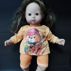 40-45 cm játékbaba ruha, short + póló ( narancssárga macis ), Játék & Gyerek, Baba & babaház, Babaruha, babakellék, Varrás, Játékbaba ruha: short és póló 40-45 cm-es és 43-46 cm-es játékbabákra. Anyaga pamut. A póló hátul té..., Meska