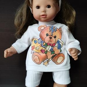 40-45 cm-es játékbaba ruha, short + póló ( fehér macis ), Játék & Gyerek, Baba & babaház, Babaruha, babakellék, Varrás, Játékbaba ruha: short és póló 40-45 cm-es és 43-46 cm-es játékbabákra. Anyaga pamut. A póló hátul té..., Meska
