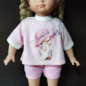 40-45 cm-es játékbaba ruha, short + póló ( rózsaszín, kalapos kislány ), Játék & Gyerek, Baba & babaház, Babaruha, babakellék, Varrás, Játékbaba ruha: short és póló 40-45 cm-es és 43-46 cm-es játékbabákra. Anyaga pamut. A póló hátul té..., Meska