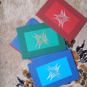 Karácsonyi képeslap vagy ajándékkísérő, Otthon & lakás, Naptár, képeslap, album, Képeslap, levélpapír, Varrás, Fonálgrafika technológiával készült karácsonyi képeslap, borítékkal. Kinyitható belső részére lehet ..., Meska