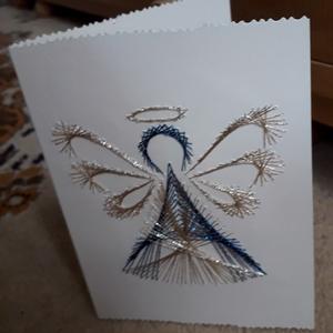 Angyal képeslap vagy ajándékkísérő, Otthon & Lakás, Dekoráció, Kép & Falikép, Ha egyedi képeslapot keresel jó helyen jársz.Fonalgrafika technikával teljesen kézzel készült nagyon..., Meska