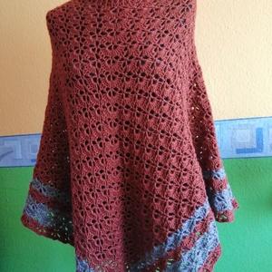 Poncsó, Ruha & Divat, Női ruha, Poncsó, Nagyon szép mintával, egyedi tervezésű horgolt poncsó. Minden évszakban hordható, praktikus viselet,..., Meska