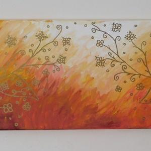 Absztrakt festmény 6., Művészet, Festmény, Akril, Festészet, Absztrakt kép, amely akrilfestékkel, feszített vászonra készült. Mérete: 20 X 60 cm. A vászon fa ker..., Meska