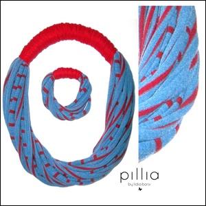 Kék-piros SPIRAL textilékszer szett, Ékszerszett, Ékszer, Ékszerkészítés, Újrahasznosított alapanyagból készült termékek, A szett újrahasznosítható, rugalmas textilből készült termék. \nA bebújós nyaklánc hossza (kerülete):..., Meska