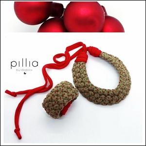 Zöld-piros pöttyös MOSAIC textilékszer szett , Ékszer, Ékszerszett, Ékszerkészítés, Újrahasznosított alapanyagból készült termékek, Újrahasznosítható, rugalmas textilből készült a nyaklánc-karkötőből álló szett. \nA nyaklánc hosszúsá..., Meska
