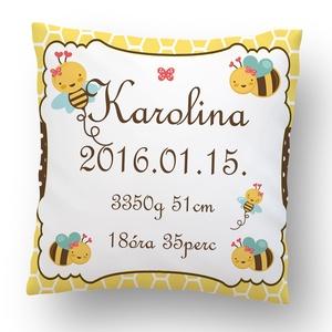 Méhecskés megérkeztem párna, Párna & Párnahuzat, Lakástextil, Otthon & Lakás, Varrás, A legkedvesebb dekoráció a babaszobába.\n32x32cm-es kispárna, selymes bársonyos anyagból, antiallergé..., Meska