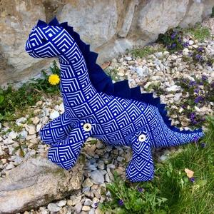 Dinó játék- egyedi tervezésű kézműves játék - dinoszaurusz textiljáték - gyerekjáték - állat figura, Játék & Gyerek, Plüssállat & Játékfigura, Láma, Baba-és bábkészítés, Varrás, Egyedi tervezésű dinoszaurusz textiljáték.\nAnyaga kék-fehér absztrakt mintás öko pamut, töltete anti..., Meska