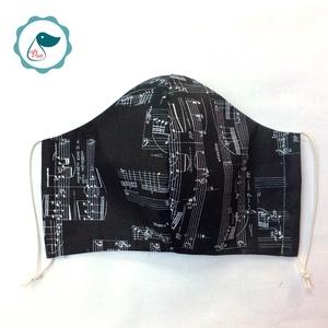 Egyedi szájmaszk -Hangjegyes felnőtt női és teenager szájmaszk - textil szájmaszk - egészségügyi szájmaszk (Pindiart) - Meska.hu
