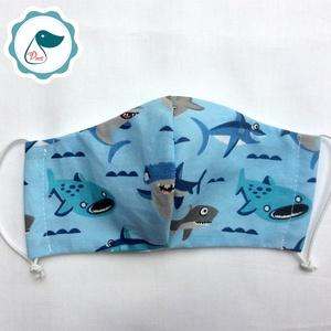 Egyedi szájmaszk - cápás gyerek szájmaszk - textil szájmaszk - egészségügyi szájmaszk - mosható szájmaszk (Pindiart) - Meska.hu