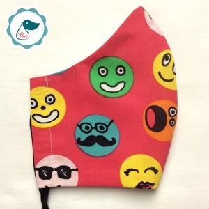 Egyedi szájmaszk -smile kiskamasz szájmaszk - textil szájmaszk - egészségügyi szájmaszk - mosható szájmaszk, Férfi & Uniszex, Maszk, Arcmaszk, Baba-és bábkészítés, Varrás, Egyedi, mintás, mosható, egészségügyi kiskamasz méretű szájmaszk 7-12 éves korig.\n\nA szájmaszk külön..., Meska
