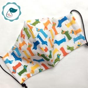 Egyedi szájmaszk - kiskamasz tacskós szájmaszk - textil szájmaszk - egészségügyi szájmaszk - mosható szájmaszk (Pindiart) - Meska.hu