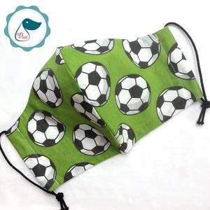Egyedi szájmaszk - kiskamasz futball labdás - textil szájmaszk - egészségügyi szájmaszk - mosható szájmaszk (Pindiart) - Meska.hu